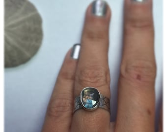 Labradorite Mermaid Scales Ring Wide Band Sterling Silver