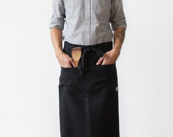 Black Stone Washed Linen Garcon Apron