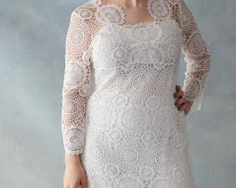 Vintage Style Alice in the Garden Tea Length Long sleeve Lace Wedding Dress - AM1920095.
