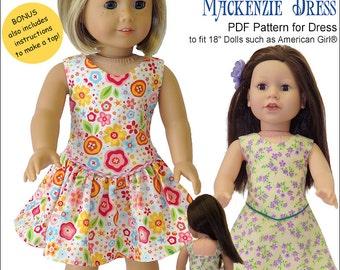 Pixie Faire Genniewren Designs Mackenzie Dress Doll Clothes Pattern for 18 inch American Girl Dolls - PDF