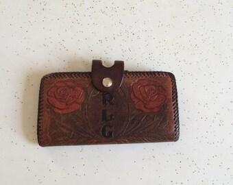 Vintage tooled leather wallet