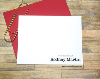 Mens Personalized Stationery - Note Cards - From the Desk Of Stationary - Thank You Cards - Mens Personalized Cards  DM119