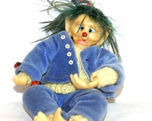 Goblin, Imp, Pixie, Vintage Collectible Doll - Creepy toy, funny gift, handmade toy, rubber face, artist doll ladybird ladybug