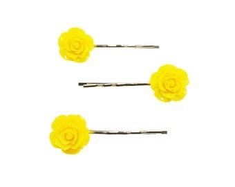 Set of 3 Yellow Color Rose Resin Bobby Pin - Hair Pins - Hair Accessories - Yellow Hair Clips - Girl Hair Pin - Bobby Pins Set