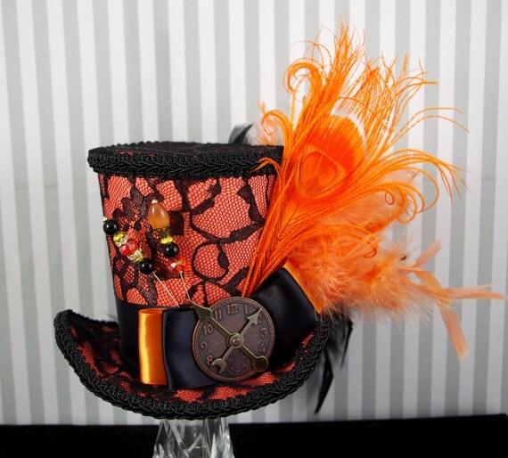 Black Lace over Orange Peacock Large  Mini Top Hat Fascinator, Alice in Wonderland, Mad Hatter Tea Party, Derby Hat
