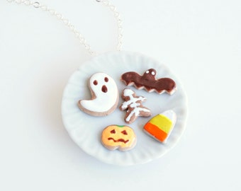 Halloween Biscuits Necklace, Halloween Jewelry, Halloween Gift, Spooky Necklace, Polymer Clay Cookies, Kawaii Jewelry, Charms