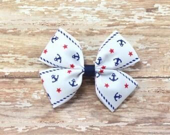 Anchor Hair Bow, Anchor Bow, Nautical Hair Bow, Nautical Bow, Basic Hair Bow, Boutique Bow, Anchor Headband, Nautical Headband, Anchor Clip