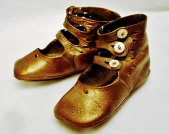 19th Century Child High Top Leather Button Shoes-Great Collectible!