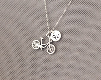 Bicycle Necklace.Personalized Initial Bird Necklace. gift for friend sister mom her No73