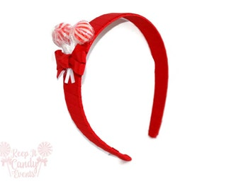 Red Lollipop Headband , Red Headband, Candy Headband, Red Wedding Ideas, Christmas Stocking Stuffer, Valentines Accessory, Edible Weddings