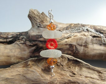 White Cornish Sea Glass Red Czetch Flower Necklace ~ Sterling Silver