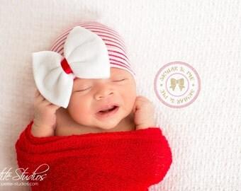 Christmas newborn hat, Christmas hat, Red baby girl, Newborn girl hat, baby girl, newborn hat, baby girl,