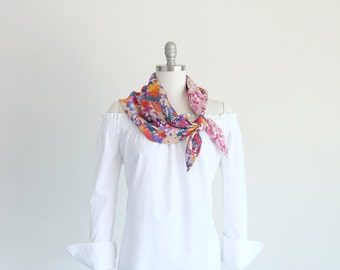 Tropical floral silk scarf in two colorful Liberty floral prints, botanical pink palm print, summer accessories for her