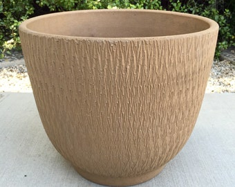 Vintage Gainey Ceramics Textured Sgraffito Planter Pot Architectural Pottery Mid Century Modern