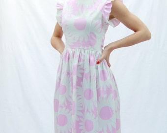 Pink midi dress, women sleeveless dress, tea length dress