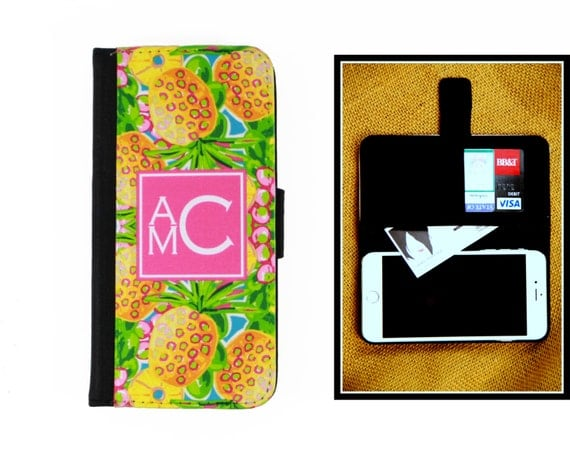 Lilly Inspired Preppy Wallet Case for iPhone 8 6 Plus iPhone 7 Samsung Galaxy Case Cell Phone Accessories Monogrammed Gifts Pineapples