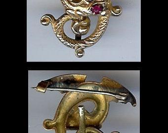 ANTIQUE VICTORIAN gold tone flying dragon rhinestone eye watch hanger pin BROOCH
