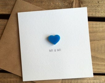 Mr & Mr Wedding Day Card with Blue detachable Love Heart magnet keepsake