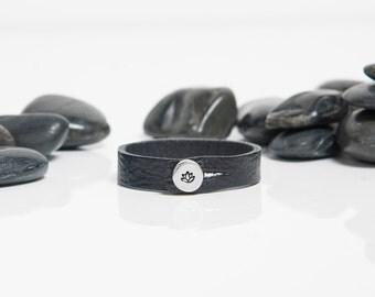 Lotus Bracelet, Lotus Flower, Reclaim, Lotus Charm, Lotus, Leather, Gift Idea, Sterling, Silver Bracelet, JIB254SS