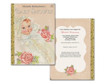 Vintage baby shower invitation / book themed baby shower invite / storybook theme / gender neutral / editable PDF/ customize it yourself