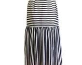 1980's Black + White Striped Midi Skirt ~ Carnival ~ 80s Vintage