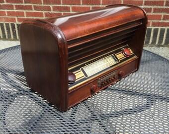 1946 Westinghouse AM Shortwave Radio, Elec Restored, Mid Century Modern
