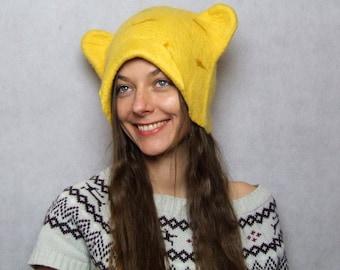 SALE - Felted Ear Flap Beanie Hat with Animal Ears - Novelty hat Yellow Felted Beanie - Winter Felt Hat - Wet Felted