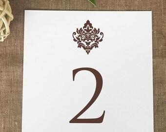 Damask Table Numbers, Printed Wedding Table Numbers