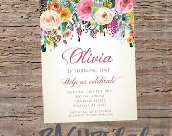 Floral Watercolor, Birthday invitation, printable, digital print