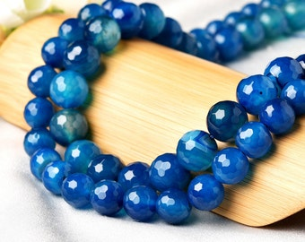 Faceted Natural Ocean Blue Agate Beads, Round 10mm 12mm, with 128 facets, 15.4 Inch Strand (GA78)