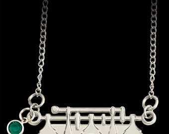 Flute Necklace with Crystal - Music jewelry for the flutist or flautist. What a Trill.