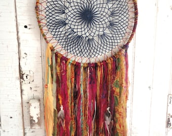 "DREAMCATCHER Bohemian Gypsy Recycled Silk Vintage Large 14"" Dream Catcher Decor Wall Hanging"