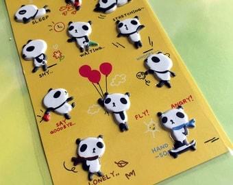 Panda sticker cute panda bear Kawaii Panda cartoon puffy sticker lovely animal lazy animal seal panda decor Scrapbooking