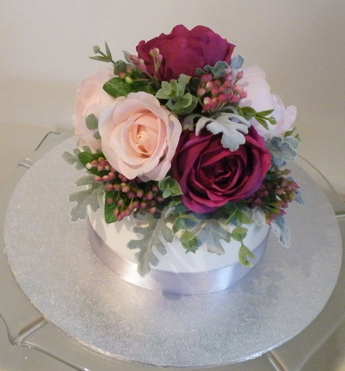 Silk Flower Cake Topper Pink Cranberry Peony Rose Real Touch