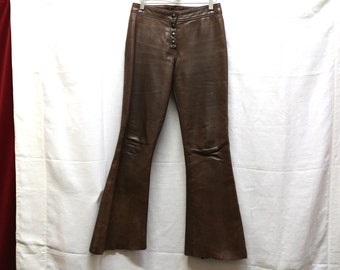 Vintage 70s 60s leather pants  brown hippie