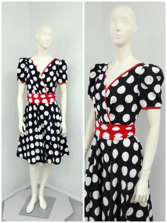 Vintage 80s Does 50s Black and White Polka Dot Dress, Puff Sleeve Dress, Circle Skirt Dress, Rockabilly Dress, Midi Dress, Tea Length Dress