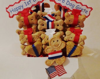 Dog treat gift basket - 4th of July- dog gift basket-dog treats - all natural dog treats- red white blue - personalized dog treats