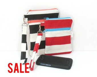 Smartphone Wristlet, iPhone Clutch, Cell Phone Holder, Red Stripe Bag, Clutch for Phone, Zipper Wristlet, Smartphone Clutch, iPhone Wristlet