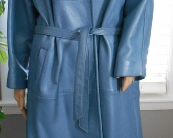 ON SALE Vintage 50's-60's Blue Leather with Fox Fur Collar Coat