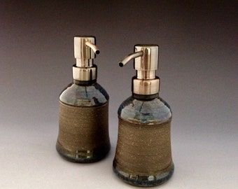 Set of Two Handmade Ceramic Pump Dispensers for Soap or Lotion by NorthWind Pottery