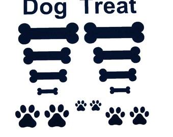 Vinyl Dog Treat, Bones and Paws - three sheets