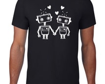 Funny Tshirt, Robot Love, Robot Tshirt, Geeky Ringspun Cotton, Funny T Shirt, Robot T Shirt, Geeky Tshirt, Geek Tee, Mens Plus Size