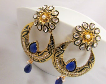 Chandelier Earrings - Blue  and Gold Crystal Studded Statement Earrings