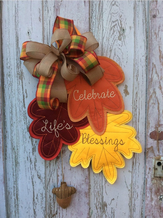 Fall Door Banner Fall Door Hanger Fall Leaf Door Hanger
