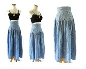 Chambray Skirt Floral Midi Boho Floral High Waisted Denim Look Size Small Vintage 80s
