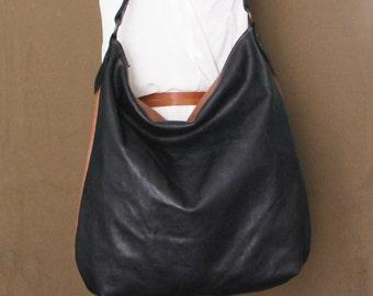 Handmade leather hobo bag black and brown