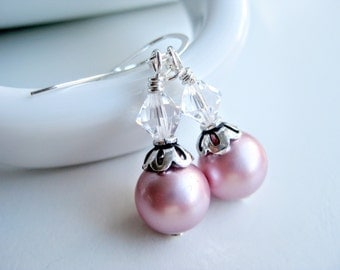Pink pearl earrings, Swarovski crystal pearl, sterling silver, light pink, jewelry stores, friend presents, pink earrings