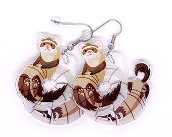 Cute Ferret Earrings, ferret lover, ferret jewelry, carpet shark, cat snake, ferrets, kawaii, cute animals
