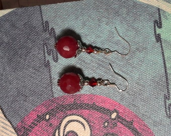 Sterling Silver, Cherry Red, Natural Quartz Drop Earrings.