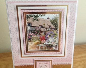 Birthday Card.  Get Well Card.  Thank You Card.  Ladies Pretty Country Cottage Card with Gold Foiling Suitable for Any Occasion